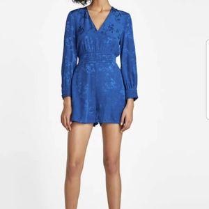 Zara Romper Sz m Electric Blue Floral Jacquard